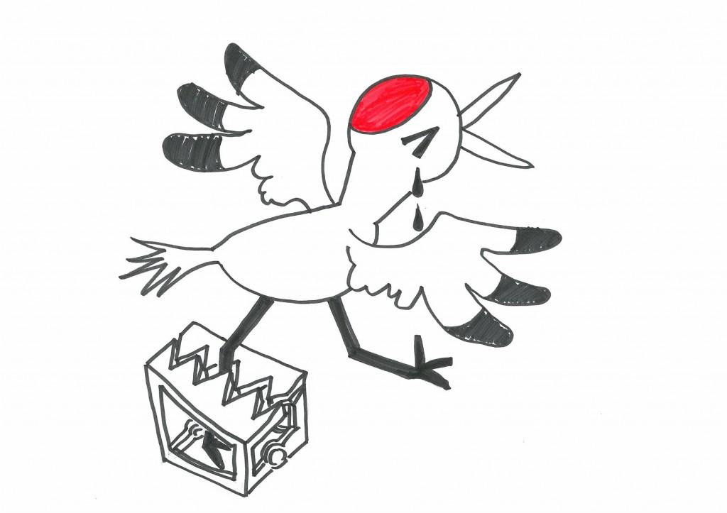 一羽の鶴が助けをよんでいます!